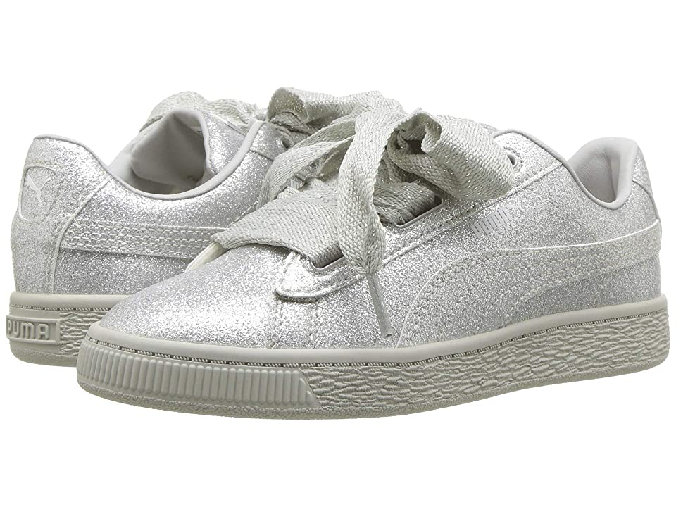 Puma Kids Basket Heart Holiday Glamour PS (Little Kid) (Puma Silver/Gray Violet) Girls Shoes