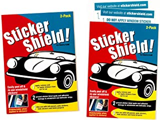 Sticker Shield - Windshield Sticker Applicator for Easy Application, Removal and Re-Application from Car to Car - 2 Packs of 4 inch x 6 inch Sheets (Total of 4 Sheets)