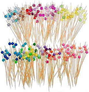JZK 200 x Palillos de cóctel de bambú con Cuentas de acrílico de Colores 12cm palillo de Dientes Largo cócteles decoración para Fiesta Tapas sándwiches brocheta de Frutas canapés Aperitivo