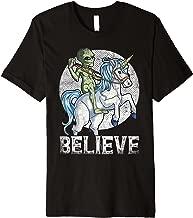 Alien Riding Unicorn Believe T shirt UFO Boys Kids Men Gift