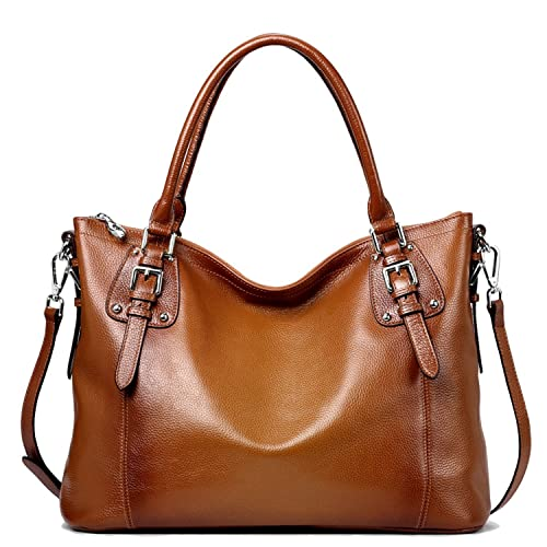 S-ZONE Women s Vintage Genuine Leather Tote Large Shoulder Bag with Outside  Pocket 94007ee515ee5