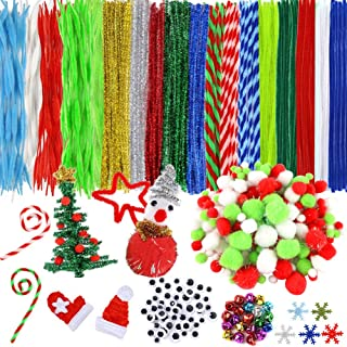 BigOtters Christmas Pipe Cleaners Set, 550PCS Craft Supply Including 200PCS Xmas Pipe Cleaners 200PCS 2-Style Pom Poms 100...
