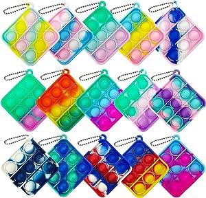 Qabfwe 15 Pcs Mini Push Pop Bubble Fidget Toy, Simple Silicone Fidget Toy, Keychain Bubble Pop Desk Toy, Stress Relief Toys Suitable for r Kids Adults(Square)