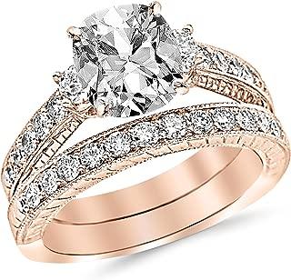 1.75 Carat Three Stone Vintage with Milgrain & Filigree Bridal Set with Wedding Band & Cushion Cut Diamond Engagement Ring (I Color VS1 Clarity Center Stones)