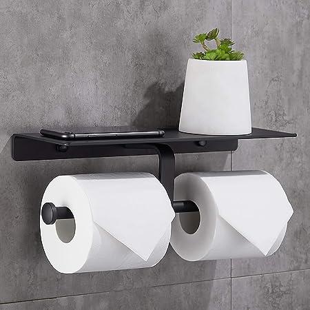 Gricol Porte Rouleau de Papier Toilette Hygiénique sans Perçage avec Etagère de Téléphone Portable Support Mural Double pour Salle de Bains (Noir)