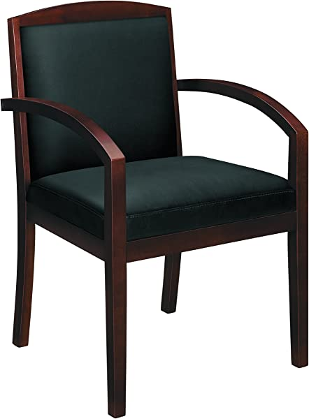 HON Topflight Wood Guest Chair Leather Seated Guest Chair With Arms Office Furniture Mahogany Finish VL852