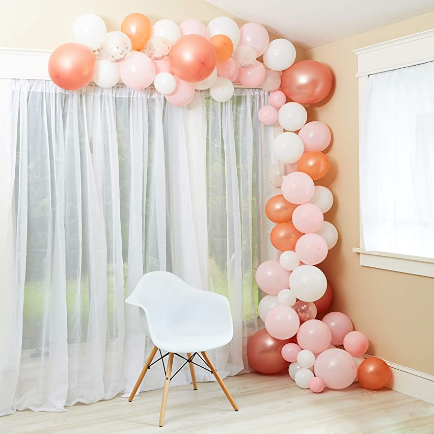 100 Pc Balloon Garland Arch Kit - Rose Gold/White/Pink Color Balloons - Baby Shower/Birthday Party/Graduation/Wedding - Home Backdrop Decor Set - Flower Balloon Clips/Tape/Tie Tool/Glue Dot/Ribbon