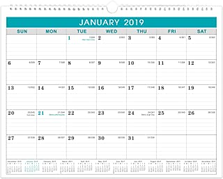 2019 Wall Calendar - Monthly Calendar Planner 2019, Ruled Blocks, 11.5 x 15 Inches