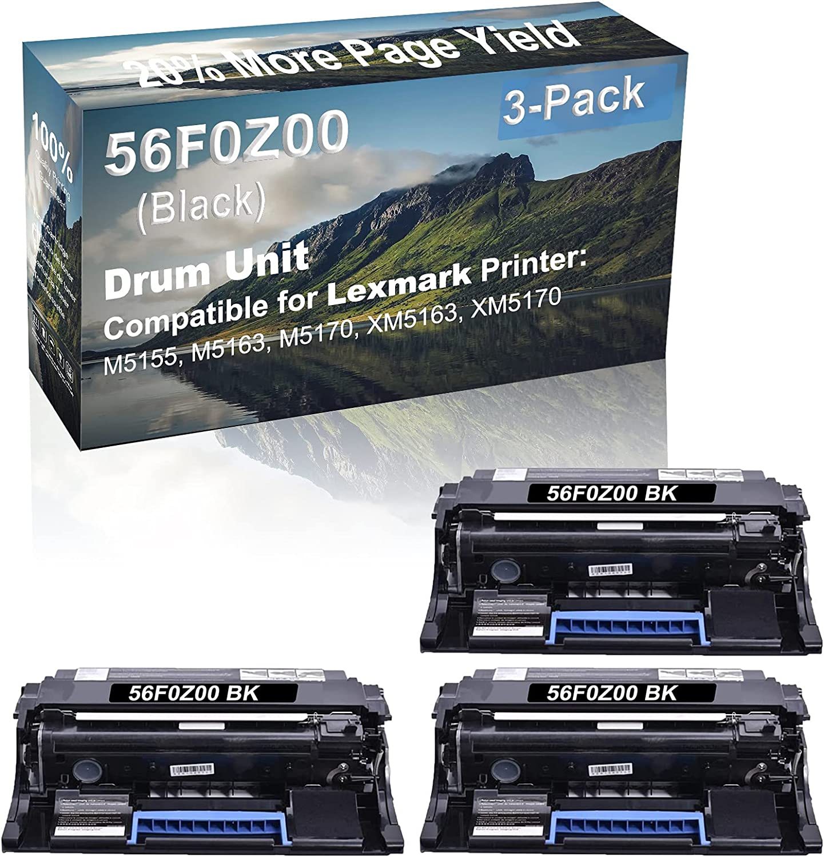 3-Pack Compatible 56F0Z00 Drum Kit use for Lexmark M5155, M5163, M5170, XM5163, XM5170 Printer (Black)