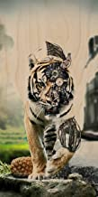 Robot Artificial Tiger Walking on Prowl - Plywood Wood Print Poster Wall Art