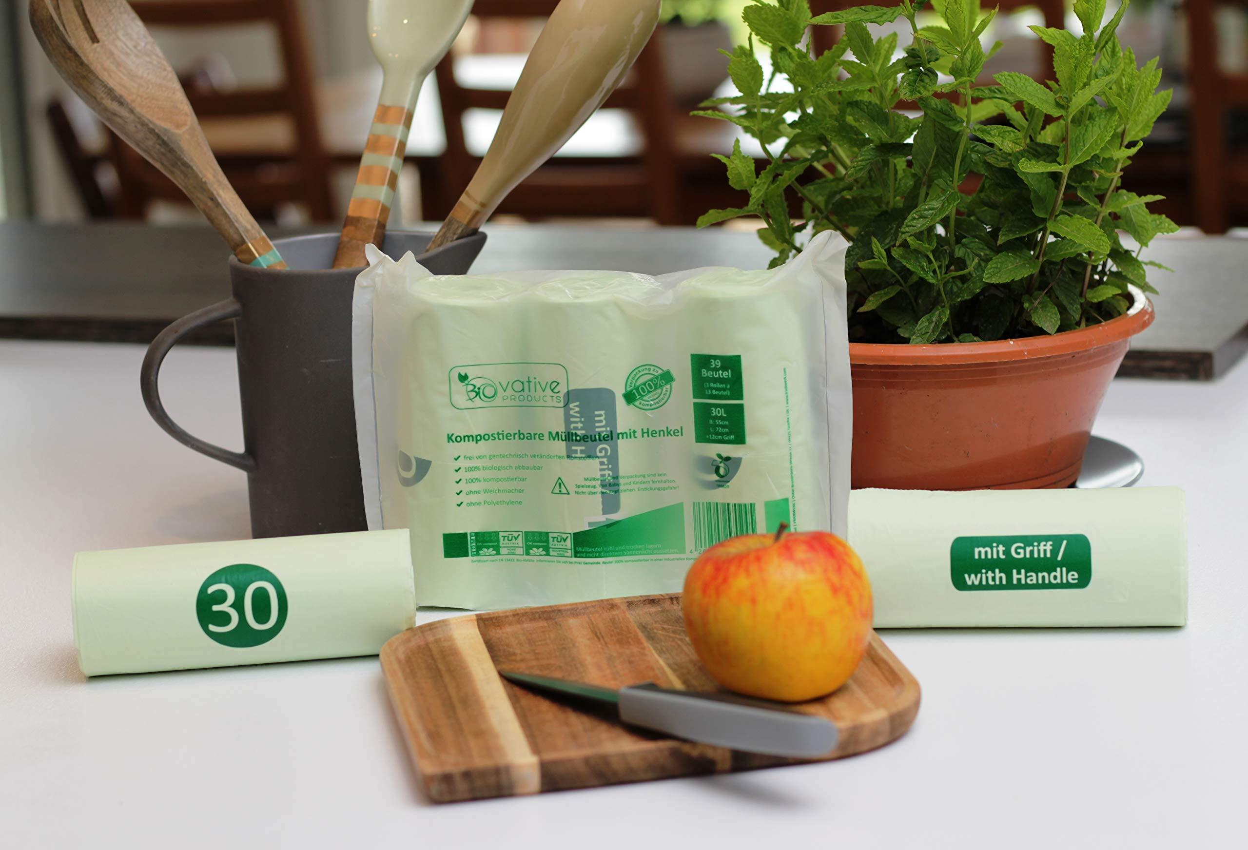 Bolsas de basura orgánica compostable 30L con asa - 100 ...