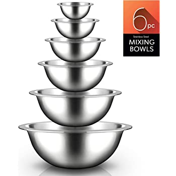 Stainless Steel Kitchen Mixing Bowls - 6 Piece Premium Space Saving Nesting Bowls Pour Perfect High-Grade Metal Serving Bowls Set - Food Prep/Serving/Marinating/Mixing - Nutrichef NCMB6PC