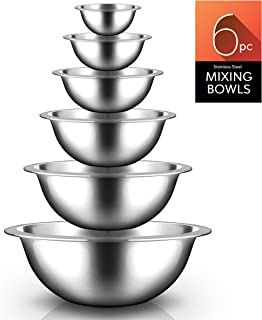 Nutrichef Stainless Steel Kitchen Mixing Bowls - 6 Piece Premium Space Saving Nesting Bowls Pour Perfect High-Grade Metal Serving Bowls Set - Food Prep/Serving/Marinating/Mixing - NCMB6PC (Set of 6)