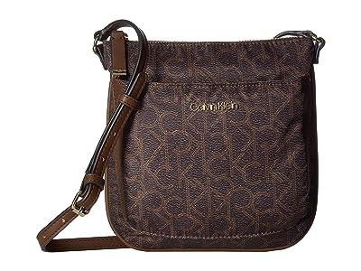 Calvin Klein Abby Nylon Crossbody (Brown/Khaki) Cross Body Handbags