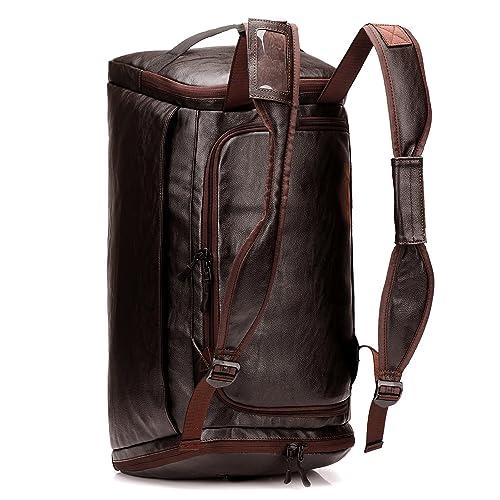 Men Gym Bag Leather Men Travel Backpack Rucksack Weekender Overnight Duffel  Bag Gym Sports Luggage Tote 6806a6864b