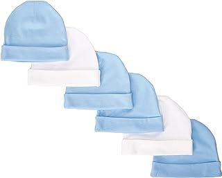 Gerber Baby-Boys Newborn Solid Cap Bundle, Blue, 0-6 Months (Pack of 6)