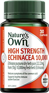 Nature's Own High Strength Echinacea 10,000 - Supports Immune System Function - Reduces Common Cold Symptoms, 30 Capsules