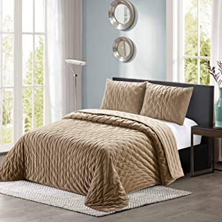 All American Collection New 3 Piece Thick Plush Velvet Coverlet Quilt Set (King Size, Beige)