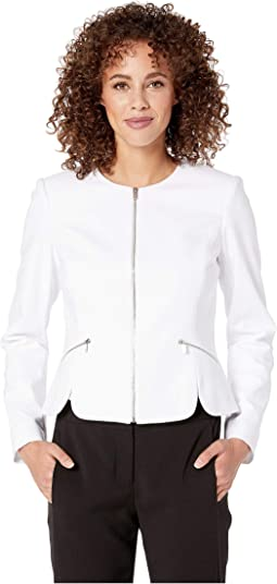 Zip Front Scalloped Cotton Jacket