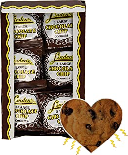 Linden's Chocolate Chip Cookies- 3 Cookies Per Pack- 18 Packs - With Exclusive InPrimeTime Cookie Heart Magnet