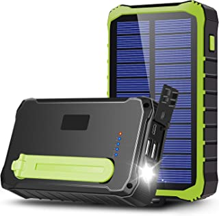 CXYP 手回し充電器 12000mAh 大容量 ソーラーチャージャー モバイルバッテリー LED高輝度ライト付き 2 USB出力ポート太陽光発電充電器 (緑)