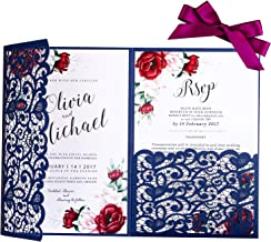 PONATIA 20 Pieces 5.1 x 7.2 '' Laser Cut 3 Folds Hollow Flowers Wedding Invitation Cards with Envelopes Ribbons for Wedding Bridal Shower Engagement Birthday Party Invite (Navy Blue)