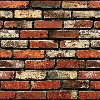 "Brick Peel and Stick Wallpaper - Brick Wallpaper - 3D Adhesive Wallpaper Faux Textured Brick Look – Removable Wall Paper, Contact Paper, or Shelf Paper - 17.71"" Wide x 197"" Long - 24.22 sq. ft. (1)"