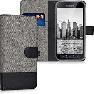 kwmobile Wallet Case for Samsung Galaxy Xcover 4 - Fabric and PU Leather Flip Cover with Card Slots and Stand - Grey/Black