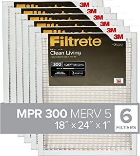 Filtrete 18x24x1, AC Furnace Air Filter, MPR 300, Clean Living Basic Dust, 6-Pack