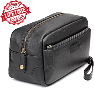 Leather Travel Toiletry Bag Dopp Kits for Men with Roomy Pockets