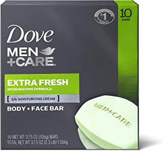 Dove Men+Care Body and Face Bar to Clean and Hydrate Skin Extra Fresh Body and Facial Cleanser More Moisturizing Than Bar Soap 3.75 oz, 10 Bars