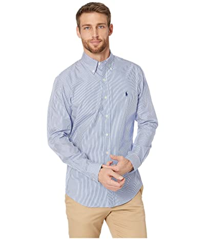 Polo Ralph Lauren Slim Fit Poplin Stretch Sports Shirt (Blue/White Hairline Stripe) Men