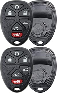 2 KeylessOption Replacement 6 Button Keyless Entry Remote Key Fob Shell Case and Button Pad -Black