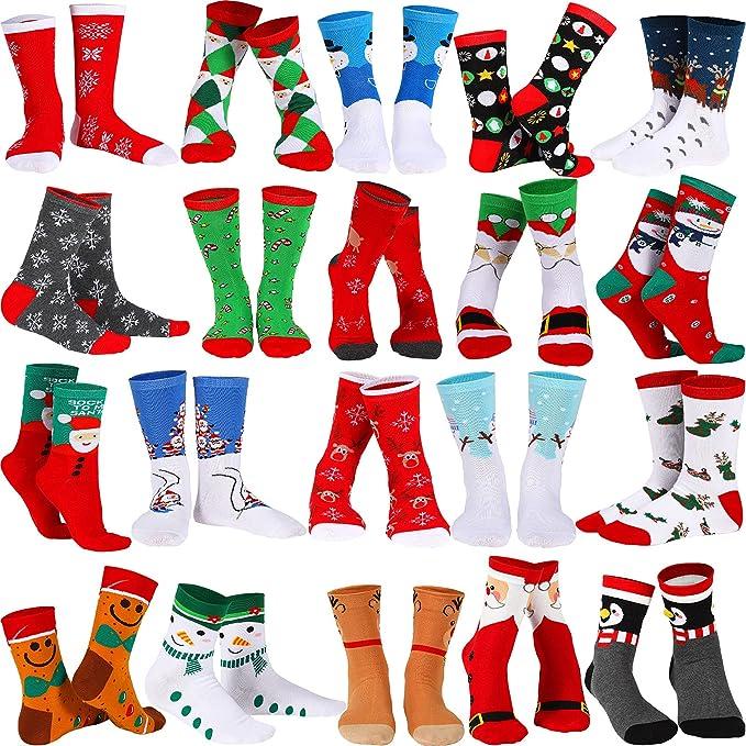 A fun variety of Christmas socks.