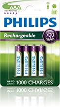 Philips R03B4A70/10 Rechargeables Batteria AAA, 700 mAh, Confezione da 4 Pezzi