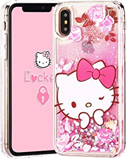 "Logee Quicksand Kitty Pink Bling Glitter Girls Case for iPhone Xs/X 5.8"",Cute Cartoon Kawaii Animal Flowing Liquid Adorable Soft Cover,Funny Unique Character Cases for Kids Teens Women (iPhone X)"