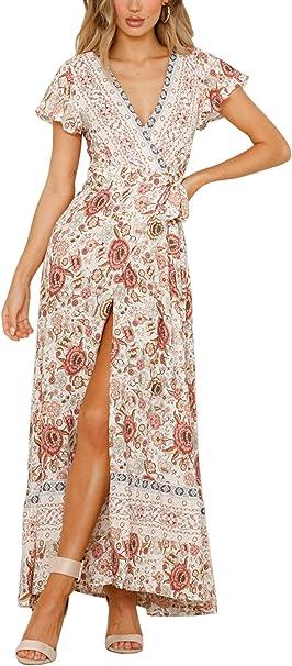Ecowish Damen Kleider Boho Sommerkleid V Ausschnitt Maxikleid Kurzarm Strandkleid Lang Mit Schlitz Amazon De Bekleidung