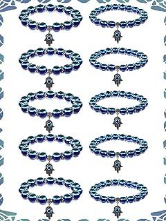 سوار عين شريرة زرقاء للحماية 8 مم 10 مم يد همسة من فاطيما مطرزة أساور سحر العين الزرقاء تمتد التعويذة أساور للنساء الرجال