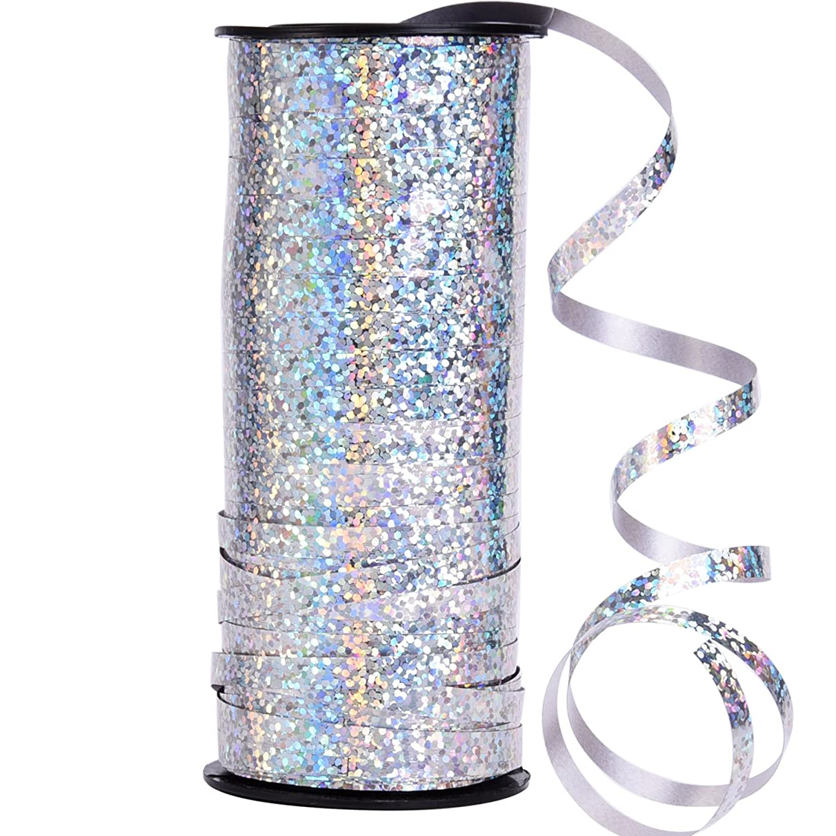 Outus Crimped Curling Ribbon Roll Silver Balloon Ribbons for Parties, Festival, Florist, Crafts and Gift Wrapping, 5 mm, 100 Yard