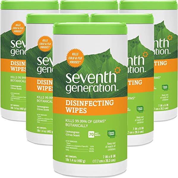 Seventh Generation Disinfecting Multi Surface Wipes Lemongrass Citrus 70 Count Tubs Pack Of 6