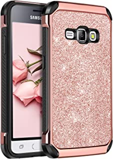 Galaxy Express 3 Case, Galaxy Luna Case, Galaxy J1 2016 Case, Galaxy Amp 2 Case, BENTBOEN Dual Layer Glitter Shockproof Protective Phone Case for Samsung Galaxy J1 J120/Luna/Express 3/Amp 2, Rose Gold