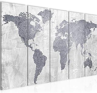 Cuadro en LienzoMapa del Mundo 200 x 80 cm - XXL Impresión Material Tejido no Tejido Artística Imagen Gráfica Decoracion de Pared -5 piezas - Listo para colgar -104355c