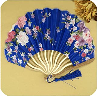 Xiao-Jing 1Pcs Folding Hand Held Fan Fabric Floral Pocket Fan Wedding Dance Favor Wedding Accessories Decoration,11