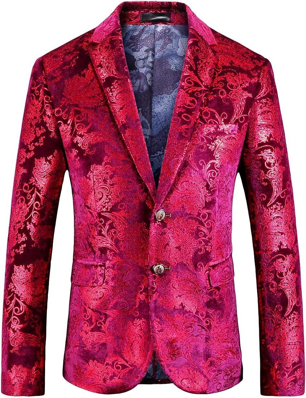 MOGU Mens Slim Fit Casual Red Blazer Fashion Floral Suit Jacket