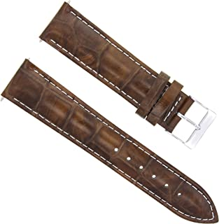 22MM LEATHER WATCH BAND STRAP FOR BREITLING CHRONOMAT 44 GMT L/BROWN WHITE ST