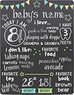 Kate & Milo Stars Baby Monthly Milestone Chalkboard, Baby Photo Prop Board, Baby Gift, Black