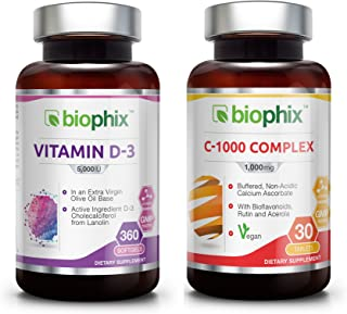 Vitamin D3 Supplement 5000 IU 360 Softgels - Free Vitamin C-1000 - High-Potency   Non-GMO   Soy-Free   in Extra Virgin Oli...