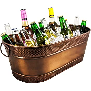 BREKX Colt Hammered Copper-Finish Galvanized Beverage Tub, Rust-Resistant and Leak-Proof Ice and Drink Bucket with Handles, 15 Quarts