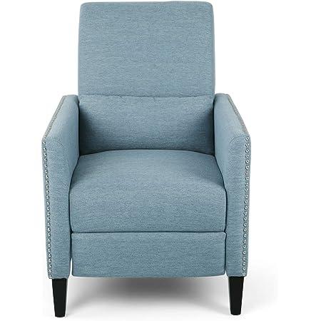 Amazon Com Alexis Contemporary Fabric Push Back Recliner Light Blue Furniture Decor