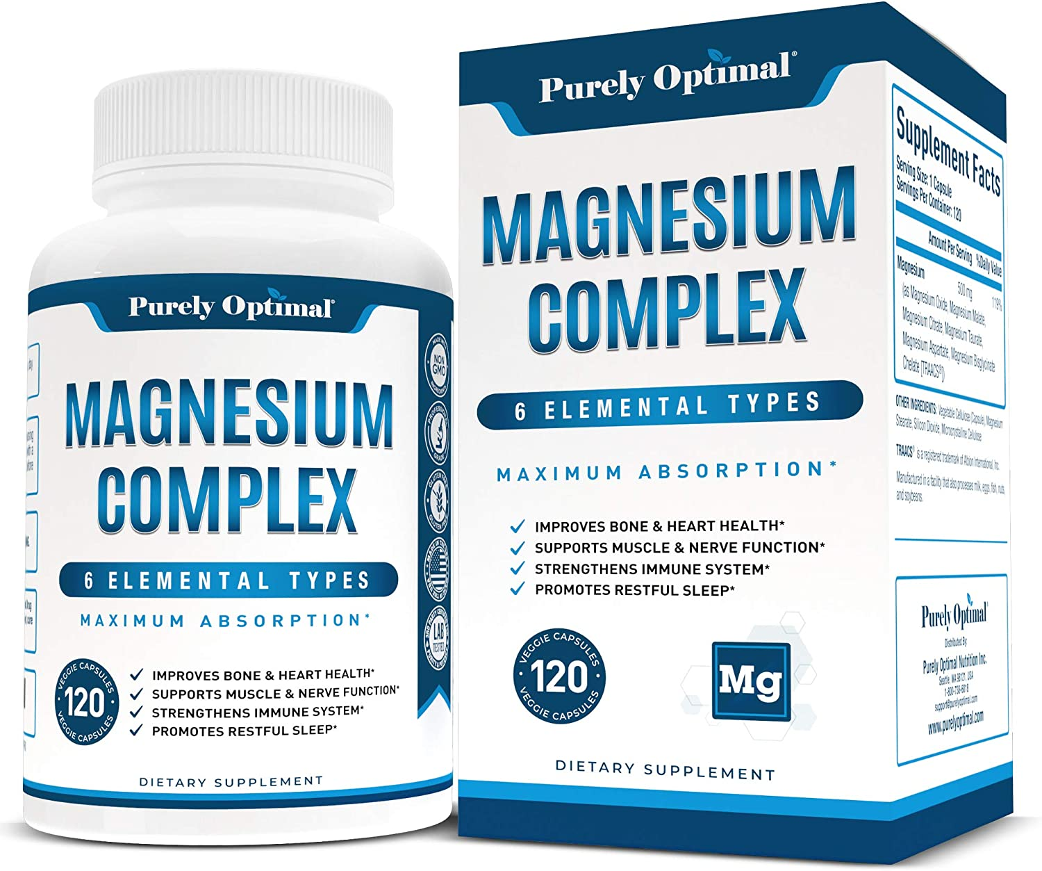 Premium Magnesium Complex - Magnesium Citrate, Malate, Taurate, Oxide, Aspartate, Bisglycinate Chelate TRAACS - Max Absorption Magnesium Supplement for Sleep, Leg Cramps, Muscle Relaxation - 120 caps…: Health & Personal Care